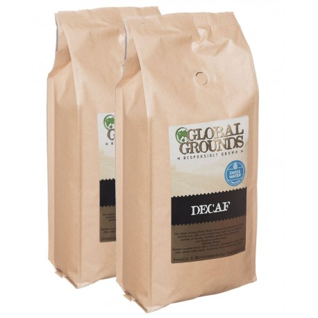 2kg Swiss Water Global Grounds Decaf Coffee Beans - 2 x 1kg