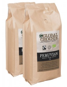 Organic & Fairtrade Coffee Beans 2 x 1kg - Standard Global Grounds Peruvian