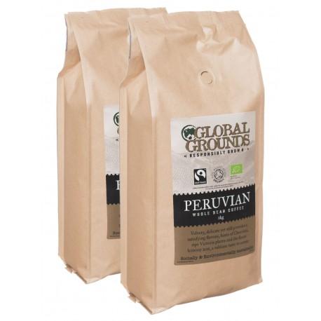 Organic & Fairtrade Coffee Beans 2 x 1kg - Standard Global Grounds Peruvian