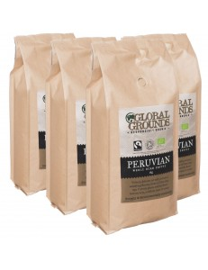 4 x 1KG Organic & Fairtrade Coffee Beans - Standard Global Grounds Peruvian
