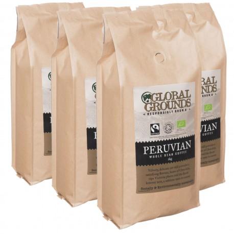 4 x 1KG Organic & Fairtrade Coffee Beans - Standard Global Grounds Peruvian