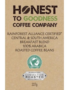 Rain Forest Alliance Certified Central & South America Breakfast Blend 100% Arabica Roasted Coffee Beans 4 x 227g